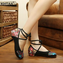 $enCountryForm.capitalKeyWord NZ - 2019 Dress KHTAA Women New Butterfly Printed Ethnic Ankle Strap Low Increasing Heels Female Casual Lace Up Cotton Fabric Shoes Ladies Soft