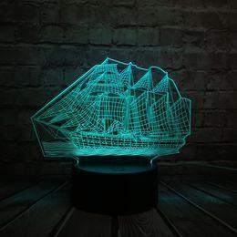 Ancient Lamps Australia - 3D Retro Ancient Sailing Sea Boat Ship LED Lamp Chinese Style Multicolor Illusion RBG Night Light USB Table Desk Decor