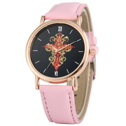 $enCountryForm.capitalKeyWord Australia - Unique Red Gold Cross Pattern Dial Watch for Women Charming Quartz Analog Watches Comfortable PU Leather Band Wristwatch
