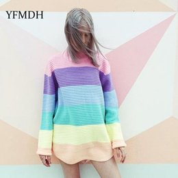 $enCountryForm.capitalKeyWord Australia - 2018 Autumn Winter Women O-neck Knitted Sweaters Candy Color Ice Rainbow Long Sleeve Pullover Casual Pullovers Oversized