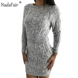 mini robe vintage Canada - Nadafair Casual Long Sleeve Sweater Dress Winter Twist Elegant Mini Bodycon Autumn Warm Knitted Dress Women Robe Pull CJ191115