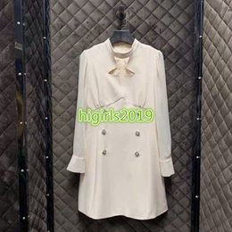 white neck shirt Australia - high end women girls white shirt dress crystal double breasted crew neck long sleeves a-line mini skirt top quality fashion design dresses