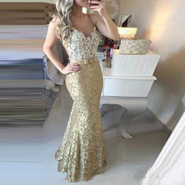 Free evening dresses online shopping - High Quality Gold Lace Mermaid Evening Dresses Long For Women Prom Dress vestido de festa