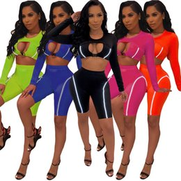 knee length tops women Canada - Sexy Clubwear Solid Color 2 Piece Set Fashion Woman Round Neck Long Sleeve Hollow-Out Crop Top And Knee-Length Short Pants