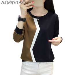 $enCountryForm.capitalKeyWord Australia - Long Sleeve T Shirt Women Tshirt Patchwork Plus Size T-shirt Women Tops Autumn And Winter Tee Shirt Femme Camisetas Mujer 2019 SH190628