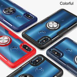 Fiber Max Australia - carbon fiber texture Transparent back cover Magnetic car holder finger ring phone case for iphone 6 7 8 x Xr Xs max Samsung S9 S10 S10 plus