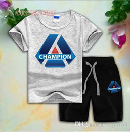 $enCountryForm.capitalKeyWord Australia - CHMP Children Sets 2-8T Kids T-shirt And Short Pants 2Pcs sets Baby Boys Girls 95% Cotton Diamond Design Printing Style Summer Sets