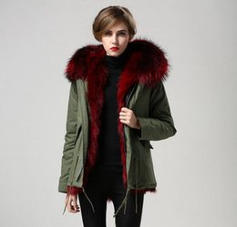 $enCountryForm.capitalKeyWord Australia - Outdoor ladies fur coats for sale Wine red raccoon fur trim wine red fox fur lining army green canvas mini parkas