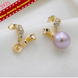 bunny earrings NZ - Bunny Ear Style Earrings Holder S925 Sterling Silver Pearl Earrings Settings Women DIY Pearl Earrings Jewelry Accessory 3Pairs