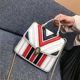 $enCountryForm.capitalKeyWord NZ - wholesale women handbag elegant striped handbag new snake bone chain bag contrast leather fashion bag street fashion color matching lock Mes