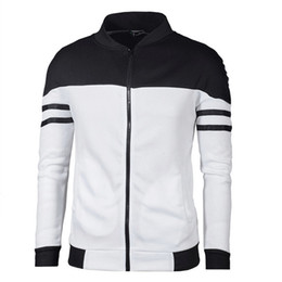 navy stripes UK - Spring men baseball jacket fashion navy and white stripe design bomber coat autumn mens slim zipper sportswear brand outerwear