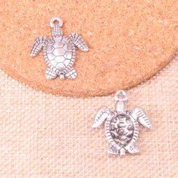 $enCountryForm.capitalKeyWord Australia - 56pcs Antique Sliver tortoise turtle sea Charm Pendant DIY Necklace Bracelet Bangle Findings 26*23mm