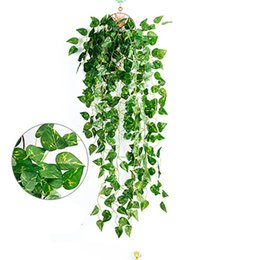 fake vines decoration UK - 1Pcs Green Artificial Fake Hanging Vine Plant Leaves Garland Home Garden Wall Decoration