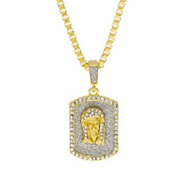 Mens Dog Tags Australia - Mens Jewelry Charm Jesus Tag Necklaces Full Rhinestone Design Filling Pieces Mens Hip Hop Gold Fashion Chain Necklaces For Men Gifts