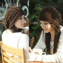 Beanies For Winter NZ - 2017 New Winter Hats for Women Autumn Warm Skullies Beanies Knitted Hat Fashion Girls Baggy Slouchy Bonnet Casual Ladies Cap Y18110503