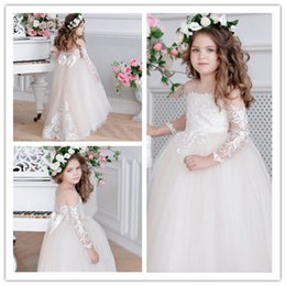Wedding Dresses Christmas Australia - Champagne Flower Girl Dress Ivory Tulle Toddler Lace Appliques Girls Birthday Christmas Wedding Party Dress Girl Dress