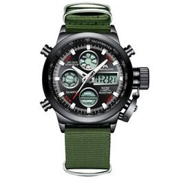 Watch Men Nylon Australia - MEGALITH Fashion Sports Watch Men Green Nylon Strap LED Digital Watch Waterproof Chronograph Alarm Male Reloj Hombre
