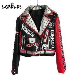 Опт LORDLDS кожаная куртка женщин 2019 Новая весна Neveda мода отложным воротником панк-рок куртки с поясом дамы пиджаки пальто