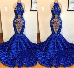 Chinese  Royal Blue Mermaid High Neck Prom Dresses Gold Appliques Rose Flowers Long Women Occasion Evening Gowns 2K19 Junior Party Wears BC1213 manufacturers