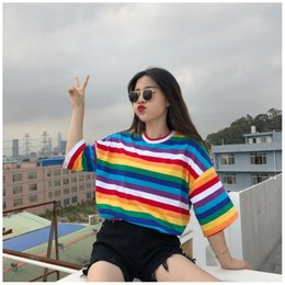 rainbow tshirt Australia - Women Designer Mid Sleeve Shirt Female Rainbow Stripes Casual Luxury Youthful Tshirt Girl Colorful Loose Comfortable T-shirts Fashion Tees