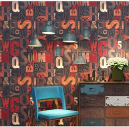 $enCountryForm.capitalKeyWord Australia - Retro nostalgic wallpaper loft industrial style English letters personalized license plate Internet cafe bar wall KTV wallpaper