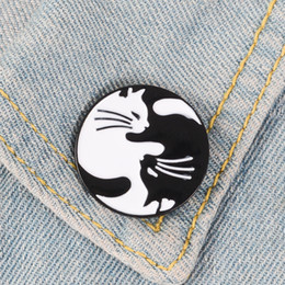 f4dfe237c32aa Tai Chi Cats Enamel Pin Black White Hugging Cats Badge Brooch Bag Clothes  Lapel pin Cartoon Animal Jewelry Gift for Cat fans Kid