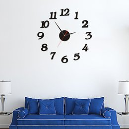 numbers stickers decals NZ - Modern Large Wall Clock 3d Mirror Sticker Unique Big Number Watch Diy Decor Wall Clock Art Sticker Decal Home Modern Decoration