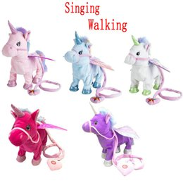 $enCountryForm.capitalKeyWord UK - Two Styles Electric Walking Unicorn Plush Toy Soft Stuffed Animal Electronic Unicorn Doll Sing The Song For Baby Birthday Gifts Y19062704