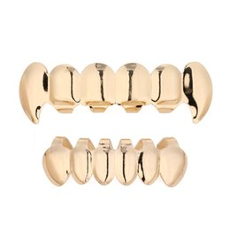 Dental golD teeth online shopping - Gold Teeth Grillz Top Bottom Grills Dental Hiphop Tooth Halloween Vampire Teeth Caps Cosply Body Jewelry