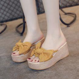 $enCountryForm.capitalKeyWord Australia - 1Summer Flip Flops Women Slippers Bow Platform Sandals Women Thick Bottom Wedges Slippers Casual Shoes