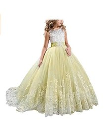 $enCountryForm.capitalKeyWord Australia - Little Girl Kids Clothing Lace Applique Full Length Ball Gown Flower Girl Dress Wish Bow Sash For Wedding Formal Occasion party F08