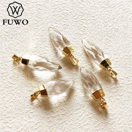 semi precious stone crystals Australia - FUWO Carved Crystal Quartz Point Pendant 24k Gold Electroplated Natural Semi-precious Stone Jewelry Accessories Wholesale PD136