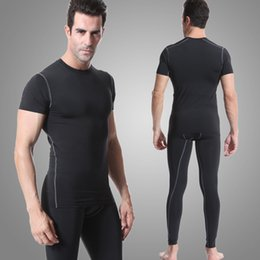 tight tracksuits Australia - 2019 Men Running Sets Compression Shirt Pants Tights Suit tracksuits Fitness Gym Bodybuilding T-shirt leggings Black Sport Suit