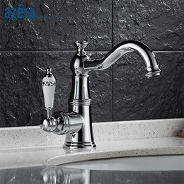 modern wash basins UK - Azeta Modern Chrome Bathroom Faucets Ceramic Single Handle Basin Mixer Tap Deck Mounted Wash Basin Faucet AT2406
