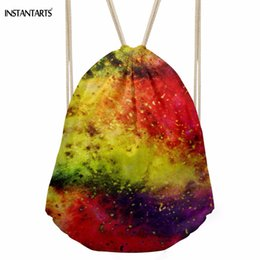 women colorful backpack Canada - INSTANTARTS Fashion Women Men Drawstrings Bags Colorful Galaxy Nebula Print Female Beach Backpacks Softback Storage Punch Pocket