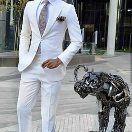 $enCountryForm.capitalKeyWord Australia - Men Suits White Custom Made Wedding Suits For Man Prom Bridegroom Groomsmen Slim Fit Casual Groom Wear Best Man Tuxedos Blazer Jacket+Pants