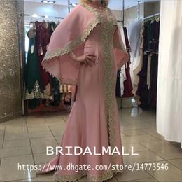 Light purpLe chiffon online shopping - Dusty Pink Mermaid Muslim Formal Evening Dresses Gold Appliques Long Prom Dress Elegant Abiye Party Gowns Pageant Custom Robe De Soiree