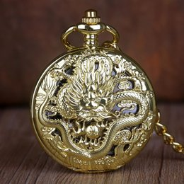 chinese watch alloy Australia - Wholesale Vintage Classic Steampunk Skeleton Gold Alloy Chinese Dragon Mechanical Hand Wind Pocket Watch FOB Chain Clock T200502