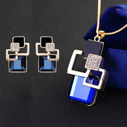 $enCountryForm.capitalKeyWord NZ - Classic Square Crystal Stud Earrings And Pendant Necklace Fashion Brand Wedding Party Jewelry Sets For Women For Gifts
