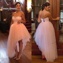 petite wedding gown pink Australia - Cheap Light Pink Asymmetrical Cocktail Dresses Beaded Sweetheart Prom Party Gowns Sexy Strapless Formal Evening Dress