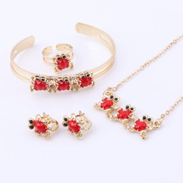 Discount indian baby jewelry Baby Jewelry Sets Gold-Color Earrings Ring For Children Lovely Animal Pendant Necklace Set Bracelet Kids Gift