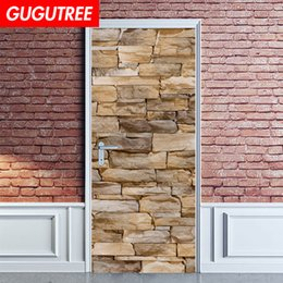 stone art landscaping Australia - Decorate Home 3D stone cartoon wall door sticker decoration Decals mural painting Removable Decor Wallpaper G-816