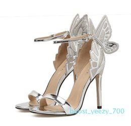 brown pointy shoes UK - 2018 Wedding Shoes Designer Shoes Butterfly Ankle Strap Pointy Pumps Silver Champagne Black Size 35 to 40 70b