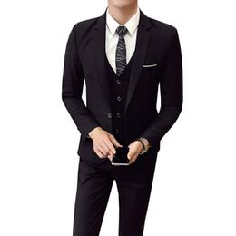 4bd4f4802fe8 (Jacket+Pant+vest) Men Wedding Suit Male 3 Pieces set Korean version  Blazers Slim Fit Business Formal Costume Casual Party