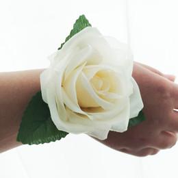 $enCountryForm.capitalKeyWord Australia - 6pcs lot silk rose flower head wedding party bride wrist rose decoration rose flower Bridesmaids Wrist Corsages wreath head