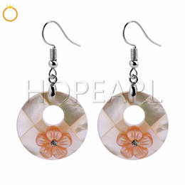 $enCountryForm.capitalKeyWord Australia - Pink Flowers White Shell Beach Jewelry Gift Natural Shell Charm Earrings for Women Girls 5 Pairs