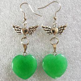 $enCountryForm.capitalKeyWord Australia - A Pair of Carved Green Jade Heart & Tibet silver Flower Earrings 58x20x6mm