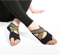 Hot Vente- chaussettes de yoga aérien mode dérapage prévention professionnelle de remise en forme de cinq doigts adultes chaussures de yoga pour adultes exposés en Solde