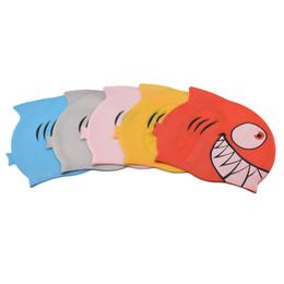 $enCountryForm.capitalKeyWord Australia - New Swimming Cap Children Silicon Waterproof Protect Ear Shark Swim Pool Hat Kids Cartoon Swim Hats Wholesale C19040302