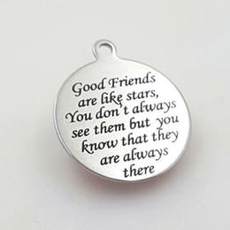 $enCountryForm.capitalKeyWord NZ - Stainless steel Round Keychain Good Friends are like stars for Boyfriend Husband Birthday Valentines Day Christmas Gift